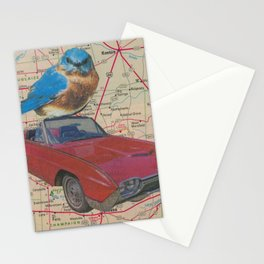 Bluebird Road Trip - Vintage Collage Stationery Cards