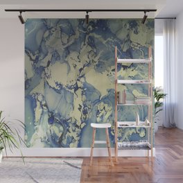 Shadows in Blue and Cream, Marble Wall Mural