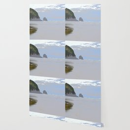 Illustrated Haystack Rock Wallpaper