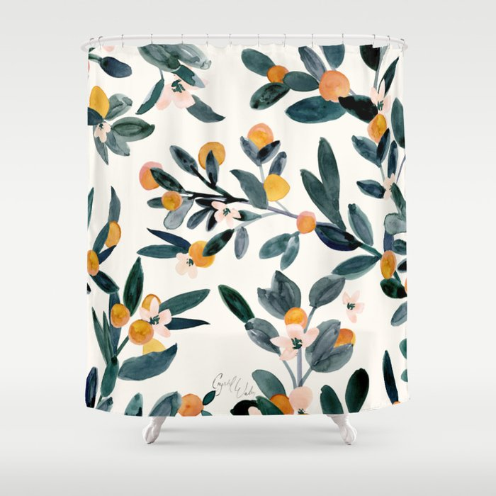 Clementine Sprigs Shower Curtain