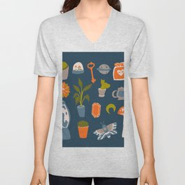 Minimalist Teenage Bedroom Blue Flash Sheet Unisex V-Neck