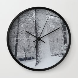 Maplewood - Snow on trees Wall Clock