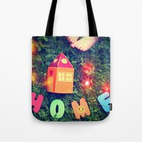 home sweet home Tote Bags featuring HOME by Julia Kovtunyak