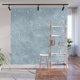 Baby Blue Silk Moire Pattern Wall Mural