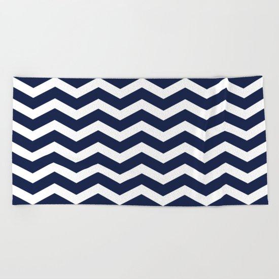 Indigo Navy Blue Chevron Beach Towel