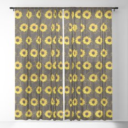 Yellow Sunflower Lace Black Background Image Sheer Curtain