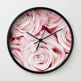 Beautiful bed of pink roses- Floral Rose Flowers Wall Clock
