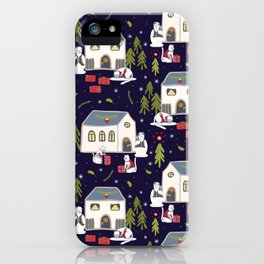 Christmas Cats Village Festive Seamless Vector Pattern, Drawn Present Boxes iPhone Case