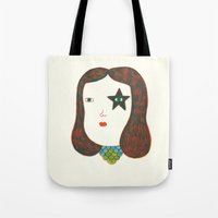 talking heads Tote Bags featuring Heads by Ana Albero