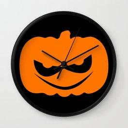 Evil Halloween Pumpkin Silhouette Wall Clock