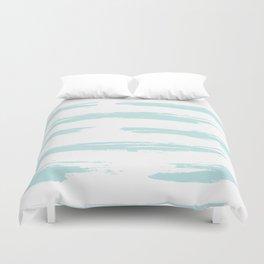 Swipe Stripe Succulent Blue and White Duvet Cover