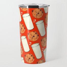 Milk & Cookies Pattern - Red Travel Mug