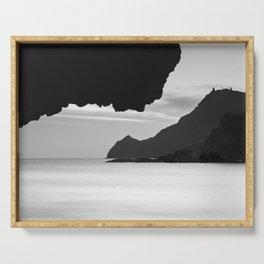Half Moon Beach. Vela Tower Cliff. Bw Serving Tray