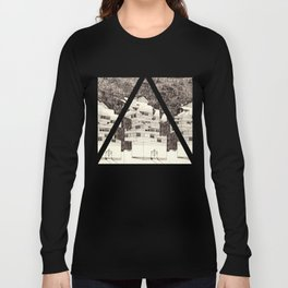Building at Night with the Moon Long Sleeve T-shirt