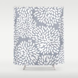 Grey and White Abstract Firework Flowers Shower Curtain