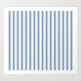 Mattress Ticking Wide Striped Pattern in Dark Blue and White Art Print