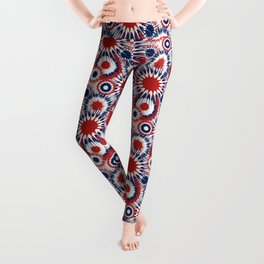 Patriotic Fireworks Pattern in Red White and Blue Leggings