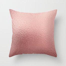 Pure Rose Gold Metal Pink Throw Pillow