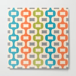 Colorful Mid Century Modern Ogee Pattern 330 Metal Print