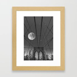Blood Moon over Brooklyn Bridge and New York City Framed Art Print