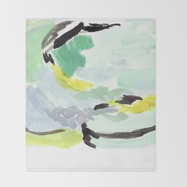Twirl Green: Abstract Painting Throw Blanket
