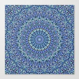 Blue Garden of Life Mandala Canvas Print