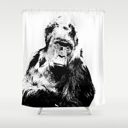 Gorilla In A Pensive Mood Portrait #decor #society6 Shower Curtain
