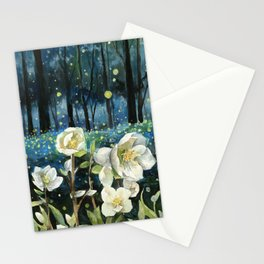 Magical Forest at Night, Fireflies and Helleborus Stationery Cards
