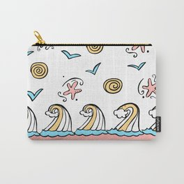 Doodle Waves Starfish - Peach Blue Yellow Carry-All Pouch