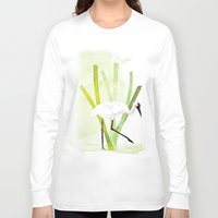 crane Long Sleeve T-shirts featuring Crane by Xiao Twins
