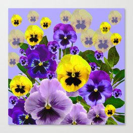 SPRING PURPLE & YELLOW PANSY FLOWERS Canvas Print