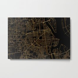 Phnom Penh map, Cambodia Metal Print