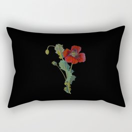 Papaver Somniferum Mary Delany Delicate Paper Flower Collage Black Background Floral Botanical Rectangular Pillow