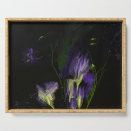 Night expression, irises and aquilegia Serving Tray