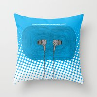headphones Throw Pillows featuring Headphones by Miguel Villasanta
