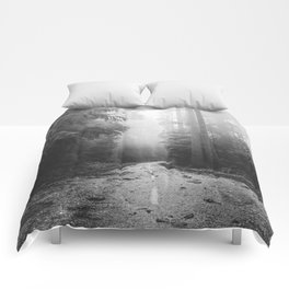 Redwood Forest Adventure Black and White - Nature Photography Comforters