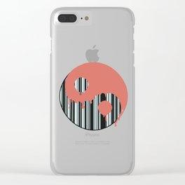 Trippy barcode yin yang Clear iPhone Case