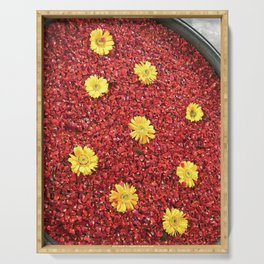 High-contrast Yellow Daisies Serving Tray