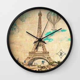 Vintage Eiffel Tower Paris Wall Clock