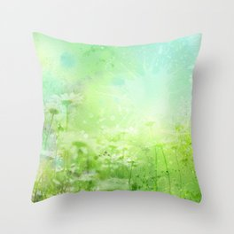 Green Watercolor Floral Throw Pillow
