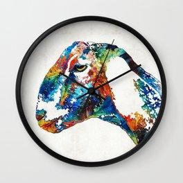 Colorful Goat Art By Sharon Cummings Wall Clock