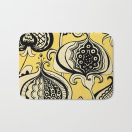 Black and Yellow Floral Bath Mat