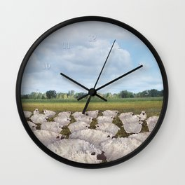 sheep in the field Wall Clock