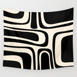 Palm Springs - Midcentury Modern Abstract Pattern in Black and Almond Cream  Wall Tapestry
