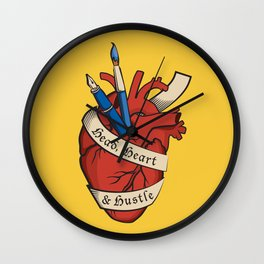 Head, heart & hustle Wall Clock