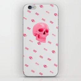 Pink skull with logos iPhone Skin