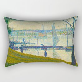 Bridge at Courbevoie Georges Seurat - 1886-1887 Impressionism Modern Pointillism Oil painting Rectangular Pillow