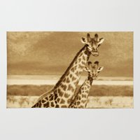 giraffes Area & Throw Rugs featuring Giraffes by haroulita