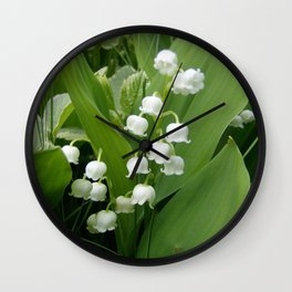 Pure White Lily of the Valley Flower Macro Photograph Wall Clock