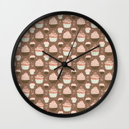 Elegant Cupcakes Food Vector Pattern Seamless Wall Clock